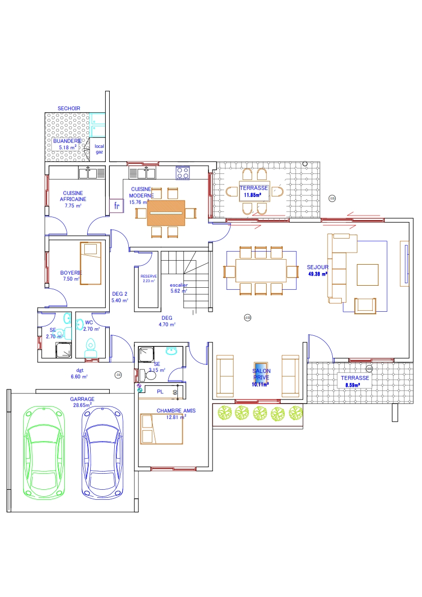 plan de maison 7 pieces